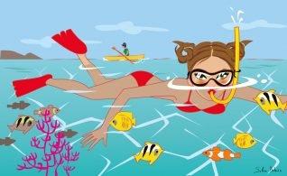 a sport woman is snorkeling
