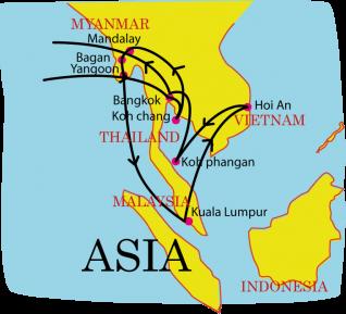 carte illustrée voyage Asie
