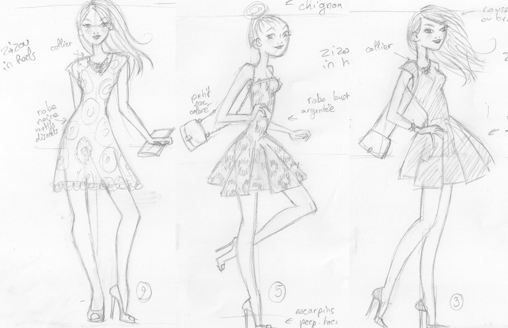 sketches for zizou women