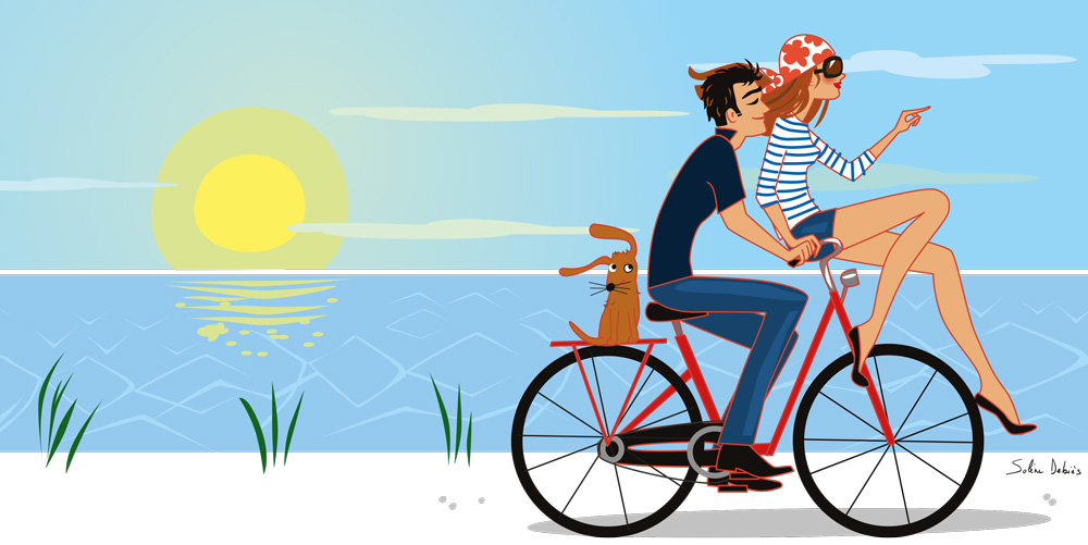 lifestyle illustration woman and man