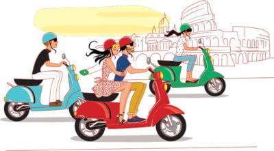 Illustrateur-scooter-vacances-tourisme-affiche