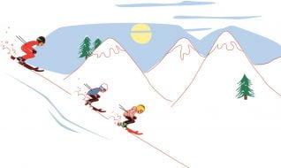 """motion design illustration for """"Les Maisons de Katy & jacques"""" : ski"""