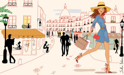 french woman illustration paris