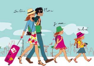 illustratrice en voyage avec ses enfants