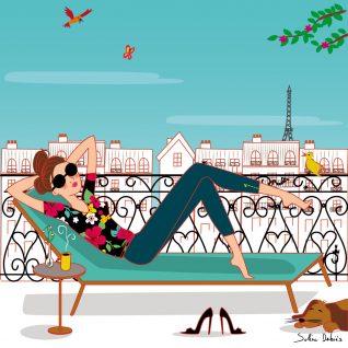 drawing woman parisian