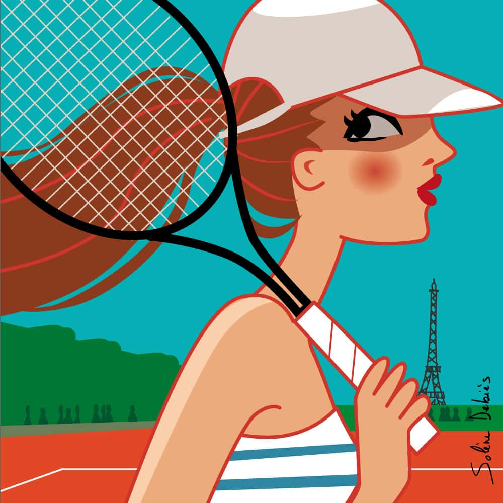 illustrator woman sport tennis