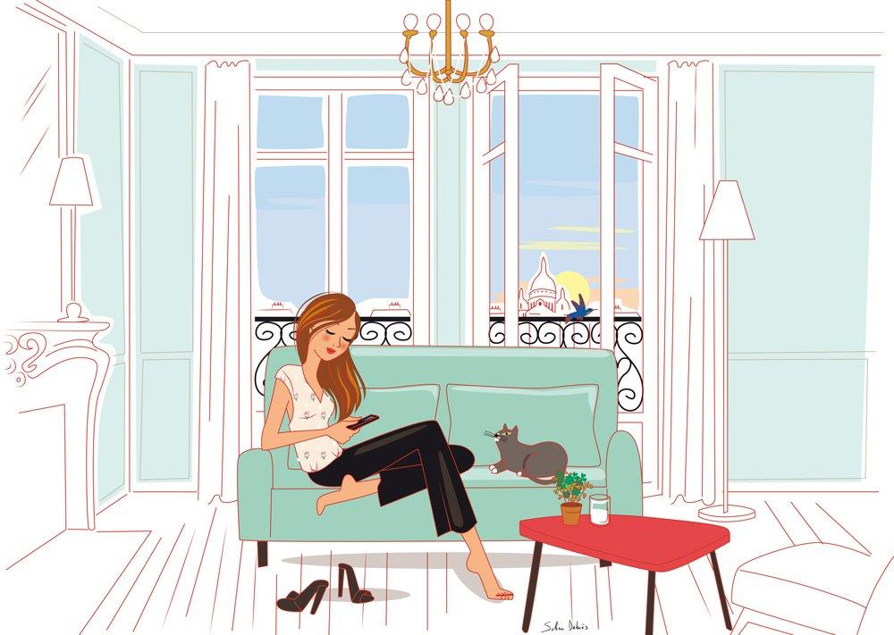 appartement haussmannien Paris femme