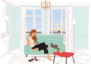 woman in her apartment in Paris