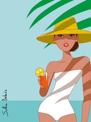 woman beach cocktail