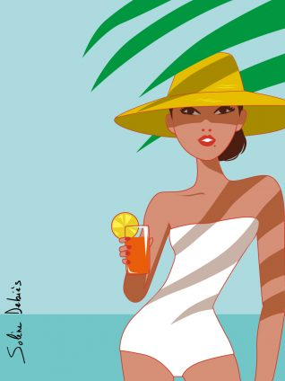 illustration woman graphic beach