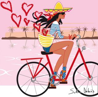 Woman drawing: on a bike