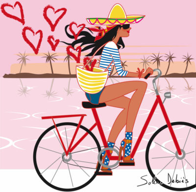 illustratrice en vacances en bicyclette