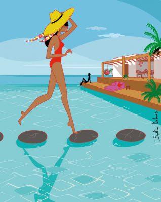 femme dans piscine à la mer près d'une maison à l'architecture luxe