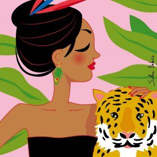 femme de profil avec un tigre