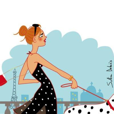femme chien paris mode