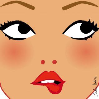 visage de femme avec yeux et bouche