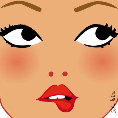 visage femme yeux bouche gros plan