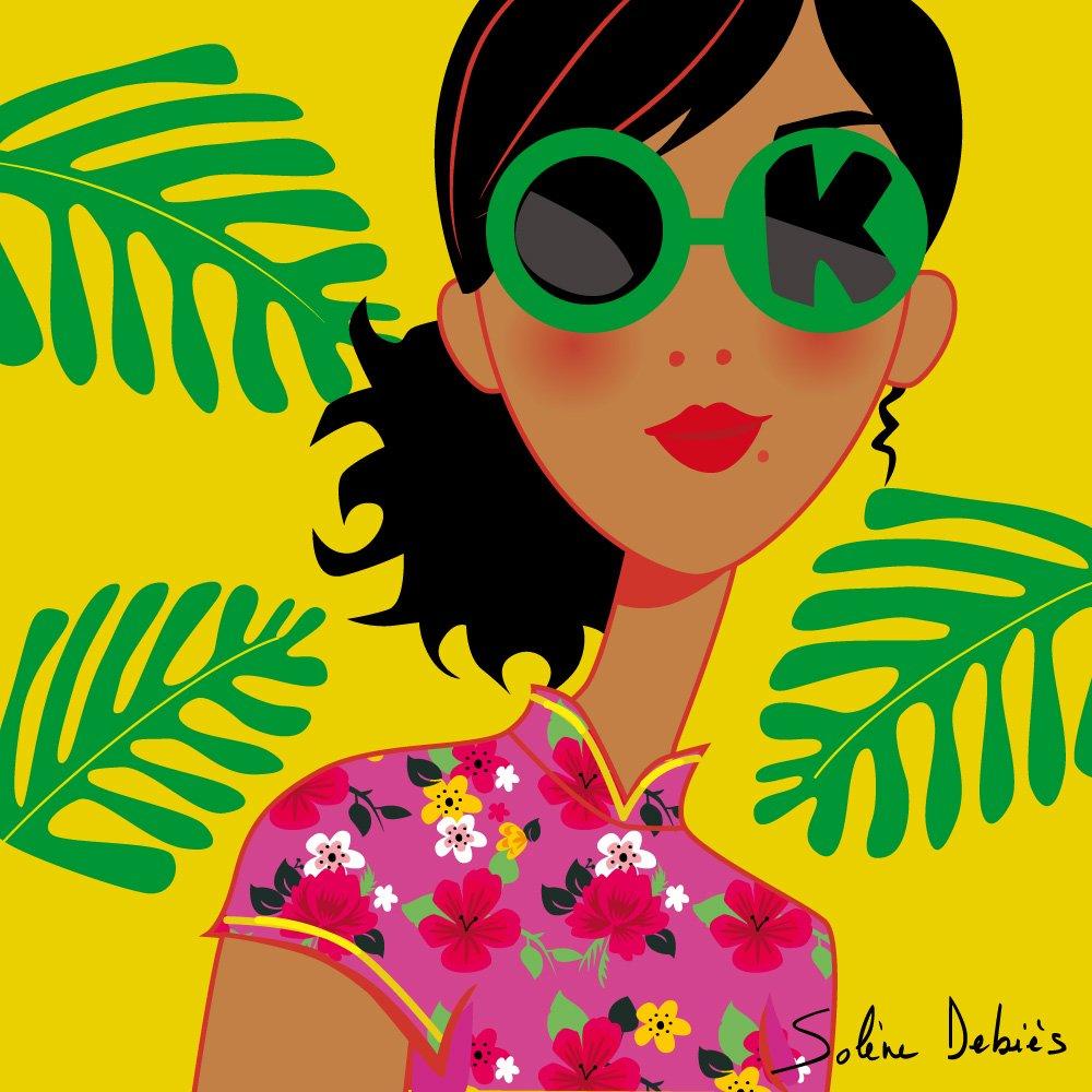 illustrateur femme graphique avec lunettes de soleil