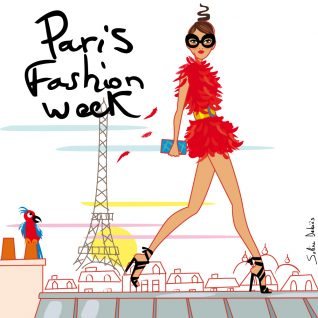 femme sur toit de Paris à la fashion week