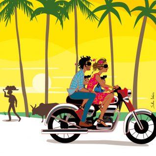 famille à moto à Goa en Inde