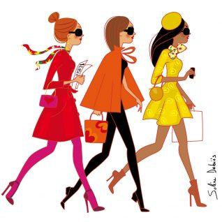 3 femmes de profil couleurs d'automne