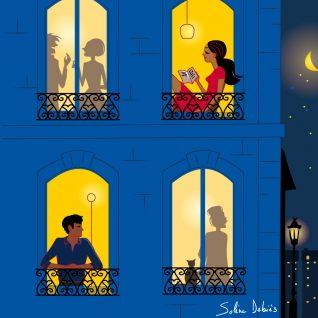 façade d'immeuble la nuit, homme et femme, romantique