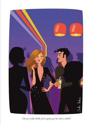 man and woman in a nightclub, Paris, humour illustration
