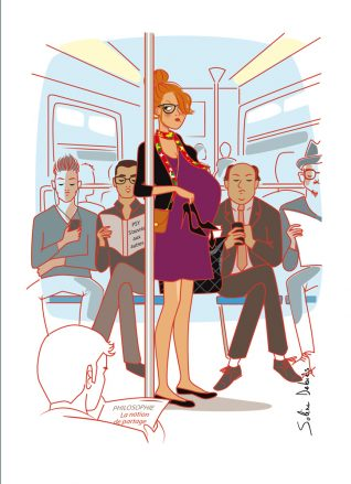 pregnant woman in Paris metro, cartoon