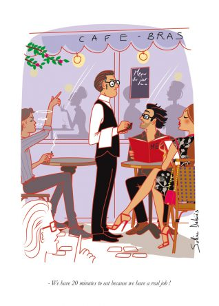 in a parisian restaurant : humour illustration