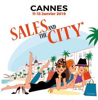"""Illustration affiche """"Sales and the city"""" Ville de Cannes"""