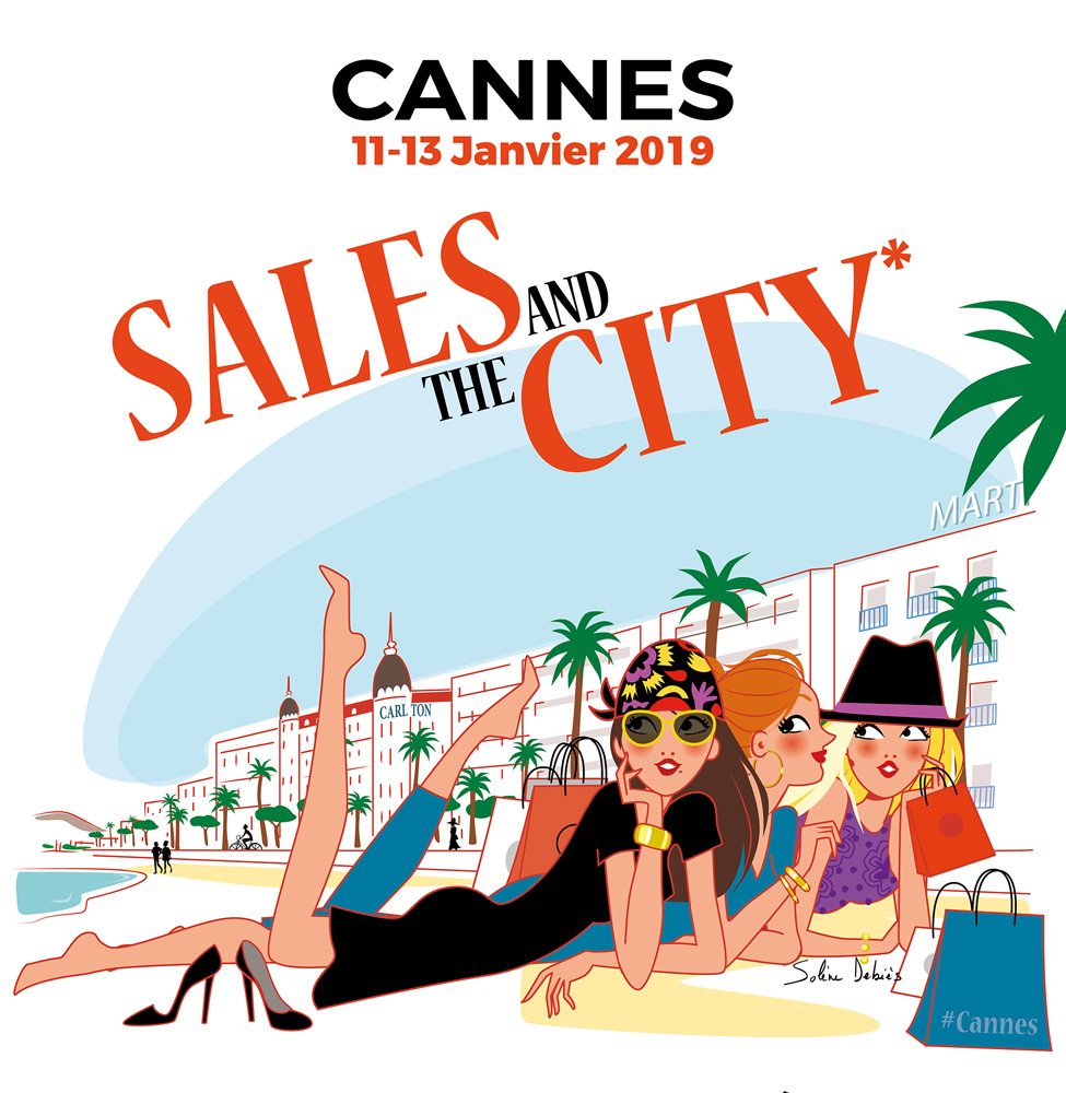 "3 fashion women on the beach in Cannes for ""Sales and the city"""