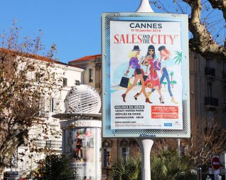 "Illustration of the tourism poster ""Sales and the city"" Cannes city"