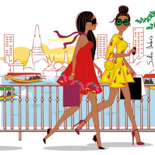Bangkok-illustration-city-women