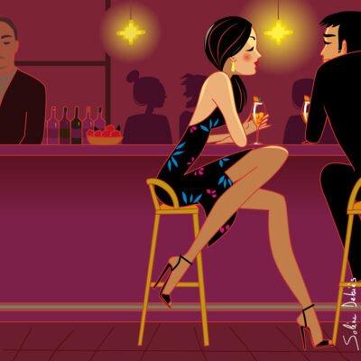 illustrateur: l'amour, un bar, l'ambiance, la lumière