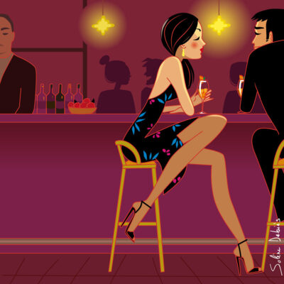 characters illustration: a couple in love in a bar, with a cosy light ambiance