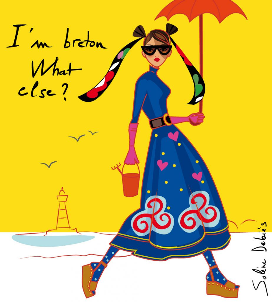 Humoristic breton woman walking on the beach