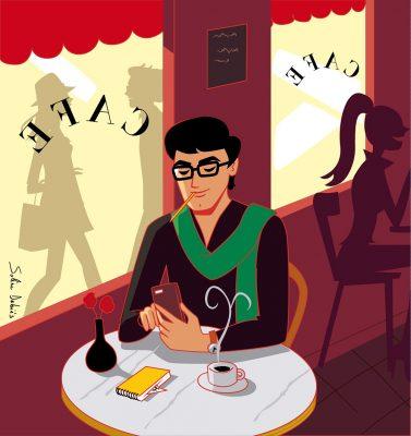homme café paris intérieur