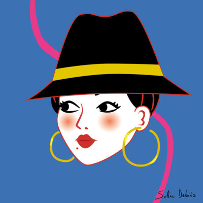 woman hat graphic design