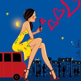 femme dans ville la nuit avec cœurs