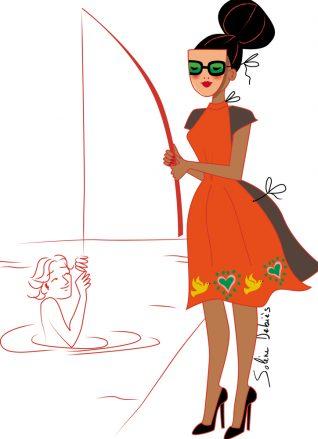 illustration éditoriale d'une femme pêchant pour le magazine Harper's bazaar India