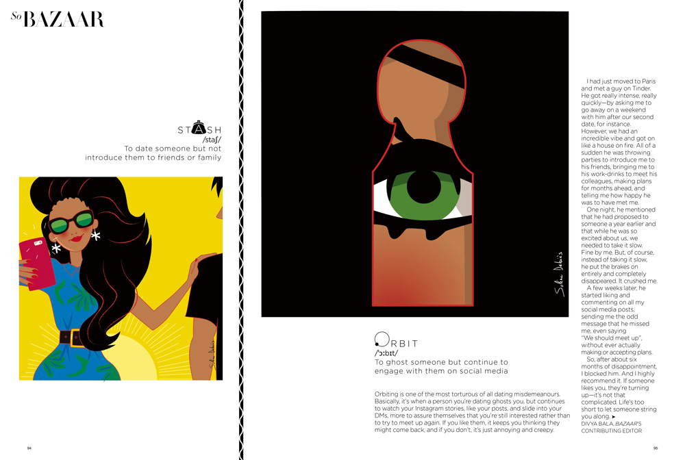 """illustrator for Harper's bazaar India > """"Modern love"""""""