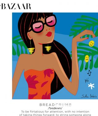 editorial illustration of a woman breadcrumbing for the magazine Harper's bazaar India