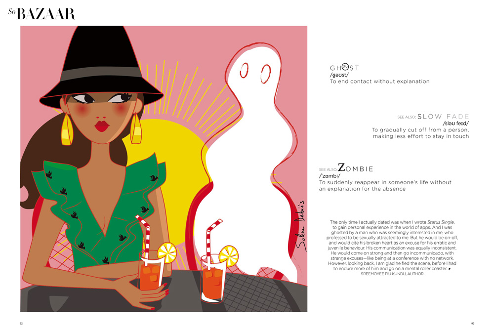 editorial illustration of a woman for the magazine Harper's bazaar India : ghosting