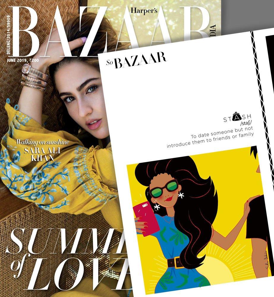 illustration pour Harper's bazaar India : femme avec smartphone et magazine