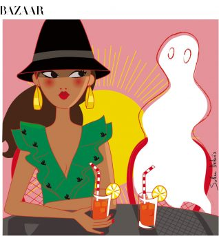 editorial illustration of a woman with a ghost for the magazine Harper's bazaar India