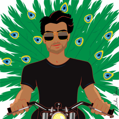 illustration éditoriale d'un homme sur une moto peacocking pour le magazine Harper's bazaar India