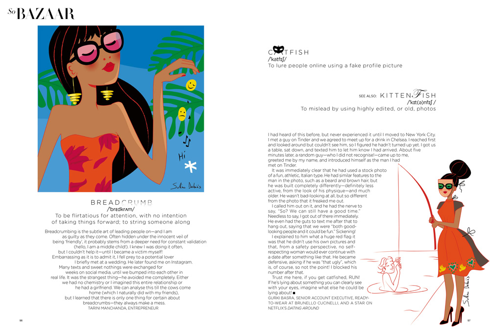 illustration éditoriale d'une femme pour le magazine Harper's bazaar India : breadcrumbing