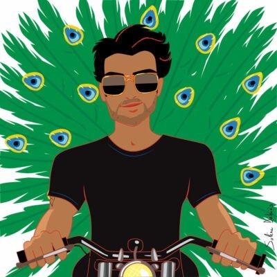 man peacocking on a moto