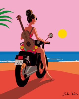 affiche femme moto mer