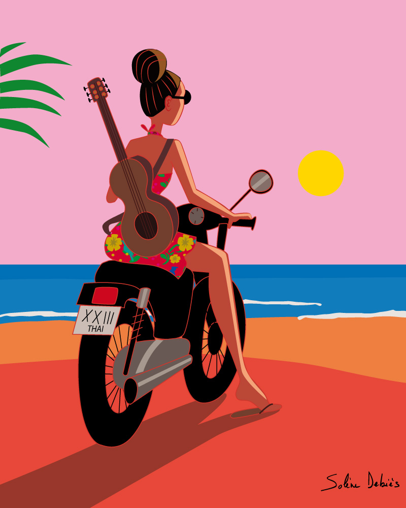 travel moto girl poster